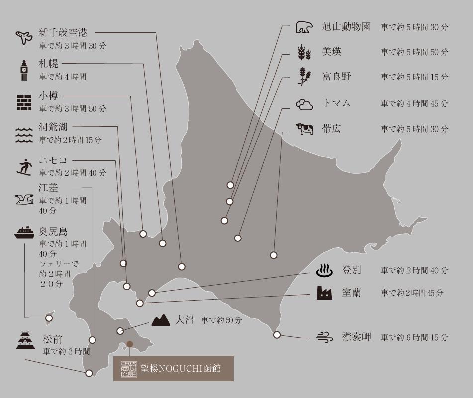 北海道の主な観光地MAP